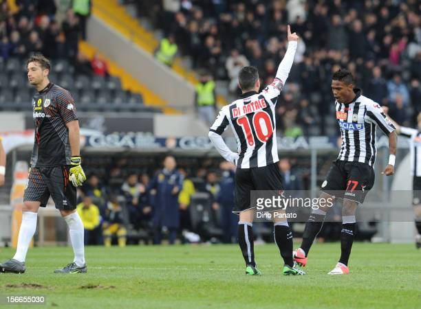 Antonio Di Natale of Udinese celebrates after scoring his opening goal during the Serie A match between Udinese Calcio and Parma FC Serie A at Stadio...