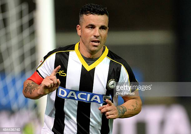 Antonio Di Natale of Udinese celebrates after scoring his opening goal during the Serie A match between Udinese Calcio and Empoli FC at Stadio Friuli...