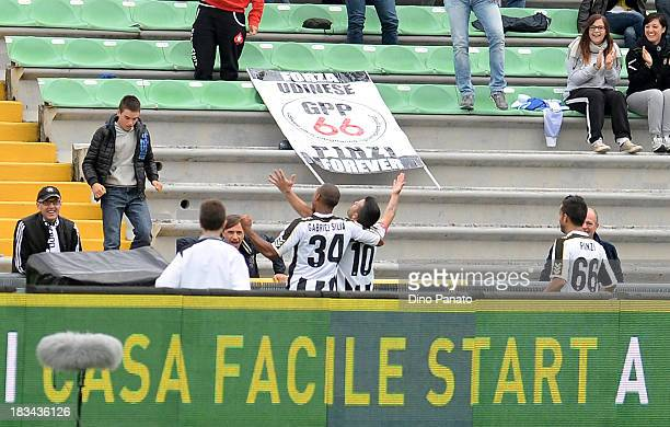 Antonio Di Natale of Udinese celebrates after scoring his team's second goal during the Serie A match between Udinese Calcio and Cagliari Calcio at...