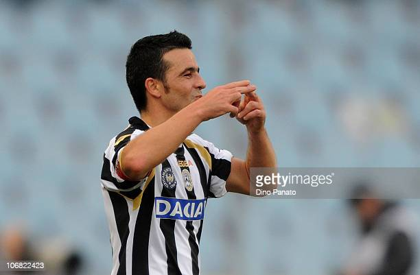 Antonio Di Natale of Udinese celebrates after scoring the 2-0 goal, his second goal, during the Serie A match between Udinese and Lecce at Stadio...