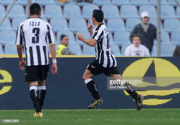 Antonio Di Natale of Udinese celebrates after scoring the 2-0 goal, his second, during the Serie A match between Udinese and Lecce at Stadio Friuli...