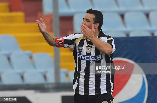 Antonio Di Natale of Udinese celebrates after scoring the opening goal during the Serie A match between Udinese and Lecce at Stadio Friuli on...