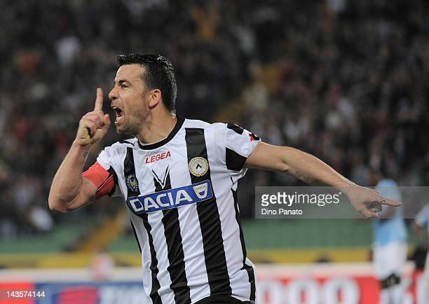 Antonio Di Natale of Udinese celebrates after scoring the opening goal during the Serie A match between Udinese Calcio and SS Lazio at Stadio Friuli...
