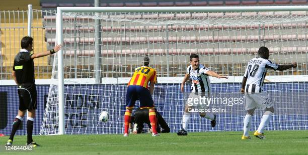 Antonio Di Natale of Udinese celebrates scoring his team's second goal during the Serie A match between US Lecce and Udinese Calcio at Stadio Via del...