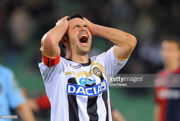 Antonio Di Natale of Udinese reacts during the Serie A match between Udinese Calcio and Cagliari Calcio at Stadio Friuli on February 24 2010 in Udine...