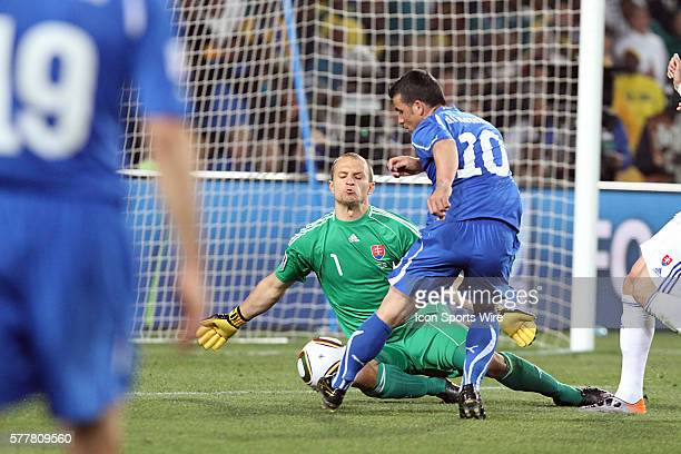 Antonio Di Natale scores a goal on this play The Slovakia National Team defeated the Italy National Team 32 at Ellis Park Stadium in Johannesburg...