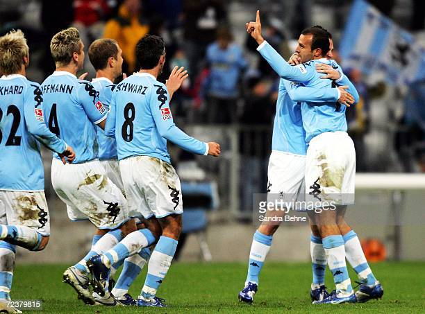 Antonio di Salvo of 1860 Munich celebrates with his team mates after scoring the secong goal of RotWeiss Essen during the Second Bundesliga match...