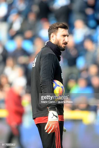 Antonio Donnarumma goalkeeper of AC Milan looks on prior the beginning of the serie A match between Spal and AC Milan at Stadio Paolo Mazza on...