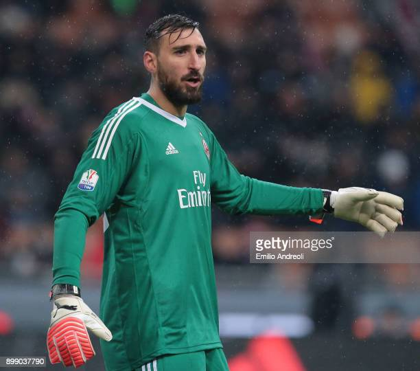 Antonio Donnarumma of AC Milan gestures during the TIM Cup match between AC Milan and FC Internazionale at Stadio Giuseppe Meazza on December 27 2017...