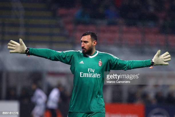 Antonio Donnarumma of Ac Milan in action during the Tim Cup football match between AC Milan and Fc Internazionale Ac Milan wins 10 over Fc...