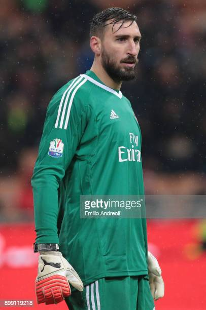 Antonio Donnarumma of AC Milan looks on during the TIM Cup match between AC Milan and FC Internazionale at Stadio Giuseppe Meazza on December 27 2017...