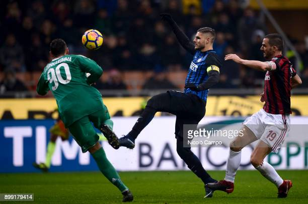 Antonio Donnarumma of AC Milan saves on Mauro Icardi of FC Internazionale during the TIM Cup football match between AC Milan and FC Internazionale AC...