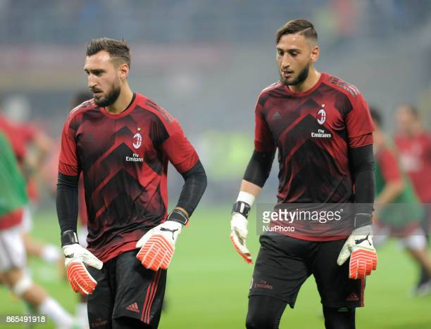 Antonio Donnarumma of Milan goalkeeper and Gianluigi Donnarumma of Milan goalkeeper during the warmup before the match valid for Italian Football...