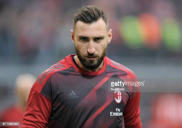 Antonio Donnarumma of Milan reserve goalkeeper during the warmup before the match valid for Italian Football Championships Serie A 20172018 between...