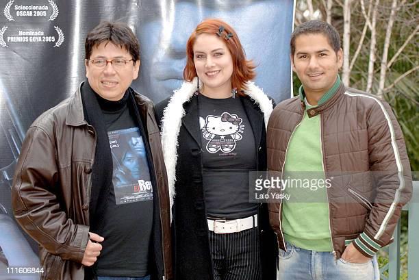 Antonio Dorado Director Vanessa Simcn and Juan Sebastian Aragon attends a Promotional Photocall for Colombian Film El Rey