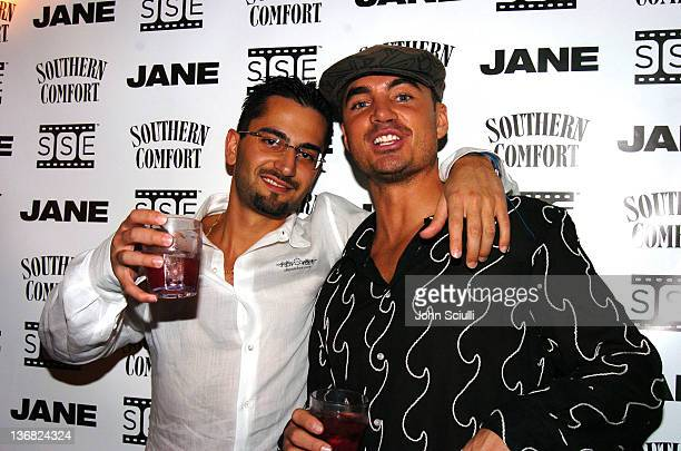 Antonio Esfandiari and Adam Kavali during Jane Magazine Poker Night at Guis in Los Angeles California United States