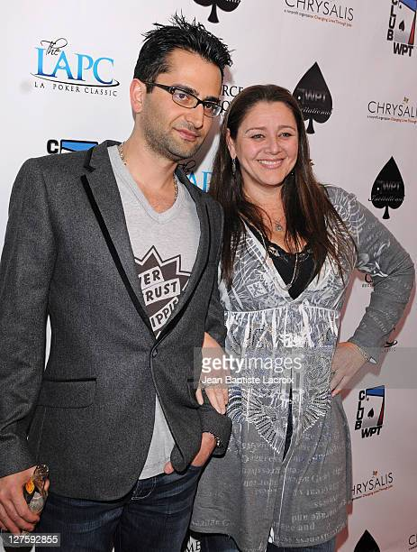 Antonio Esfandiari and Camryn Manheim attend the 2011 World Poker Tour Celebrity Tournament held at Commerce Casino on February 19 2011 in City of...
