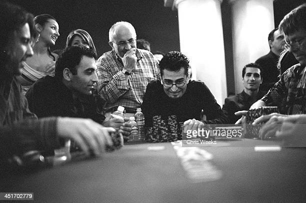 Antonio Esfandiari during 2005 BosPokercom $100000 Celebrity Poker Tournament Benefitting Red Cross Hurricane Katrina Relief Black White Photography...