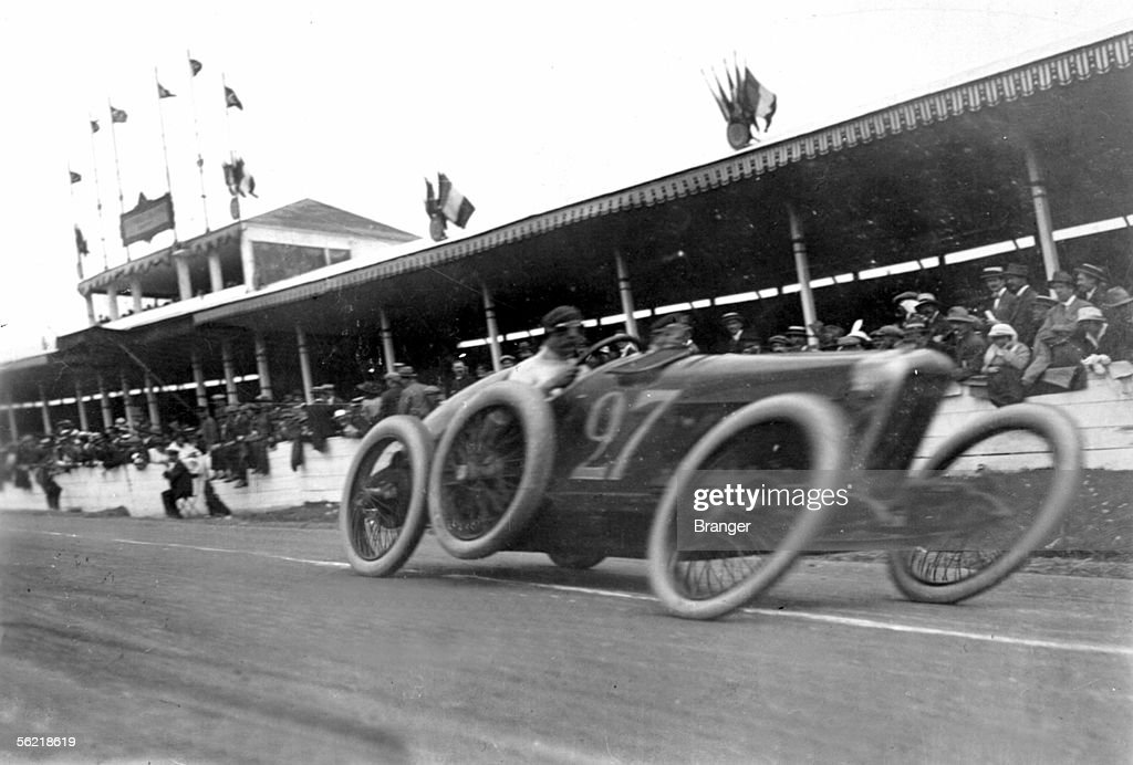 FRANCE - Antonio Fagnano drives the #27 Fiat during the Grand Prix de l'Automobile Club de France on 4th July 1914 on the public roads of Lyon, France, the last Grand Prix before World War 1.