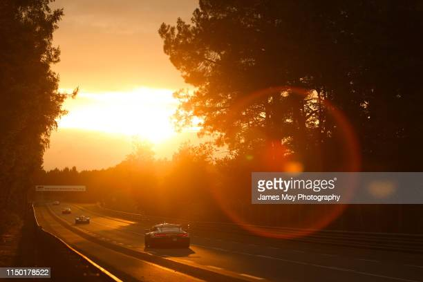 Antonio Felix da Costa / Augusto Farfus / Bruno Spengler BMW Team MTEK BMW M8 GTE in action as the sun sets during the Le Mans 24 Hour Race at the...