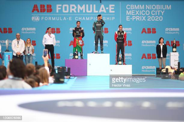 Antonio Felix Da Costa of Portugal and DS Techeetah second place, Mitch Evans of Australia and Panasonic Jaguar Racing first place and Sebastian...