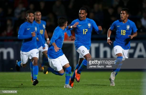 Antonio Fialho de Carvalho Neto of Brazil celebrates after scoring a goal to make it 11 during the U17 International Youth Tournament game between...