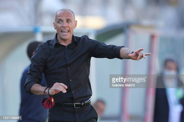 Antonio Filippini manager of AS Livorno Calcio gestures during the serie B match between AS Livorno and AS Cittadella on June 20 2020 in Livorno Italy