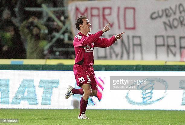 Antonio Filippini of AS Livorno Calcio celebrates the goal during the Serie A match between Livorno and Juventus at Stadio Armando Picchi on February...