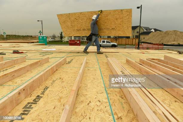 Antonio Flores carries a large piece of wood while working on a new home in the Beeler Park neighborhood of Stapleton on August 1 in Denver Colorado...