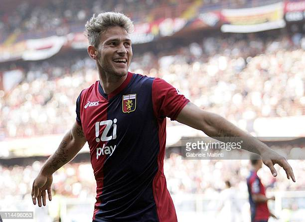 Antonio Floro Flores of Genoa CFC celebrates after scoring a goal during the Serie A match between Genoa CFC and AC Cesena at Stadio Luigi Ferraris...