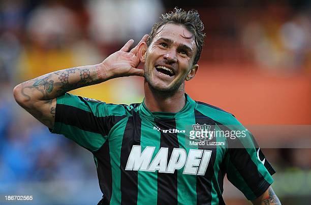 Antonio Floro Flores of US Sassuolo Calcio celebrates his goal during the Serie A match between UC Sampdoria v US Sassuolo Calcio at Stadio Luigi...