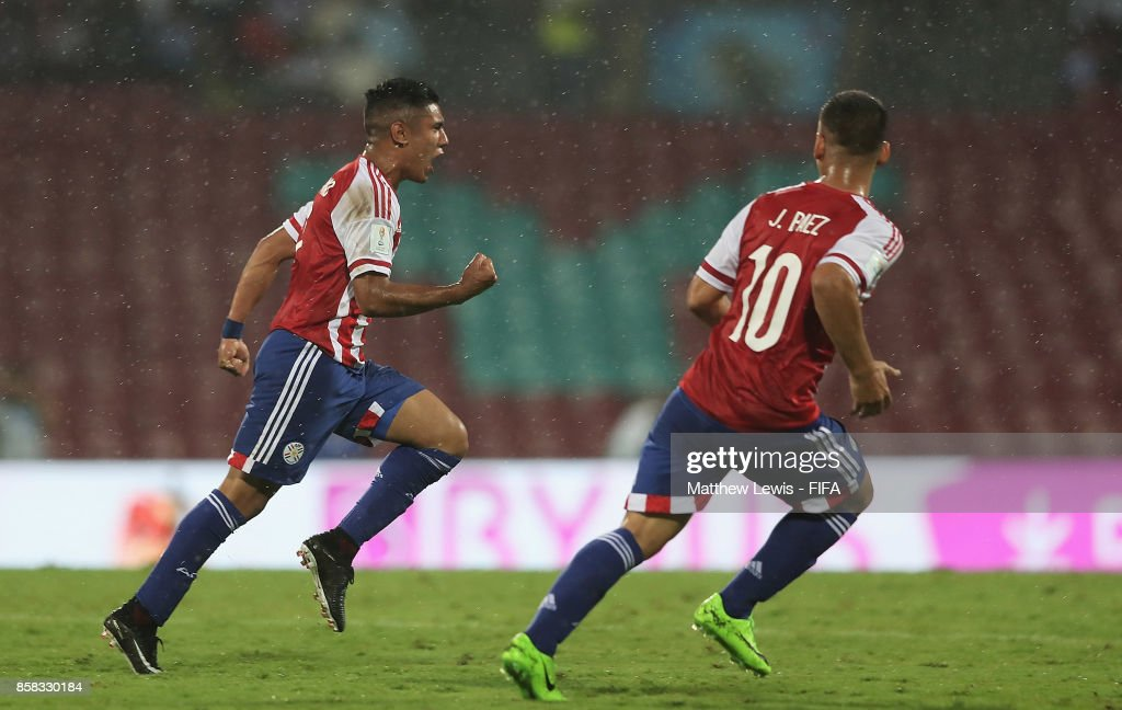 Antonio Galeano of Paraguay celebrates his goal during the FIFA U-17 World Cup India 2017 group B match between Paraguay and Mali at Dr DY Patil Cricket Stadium on October 6, 2017 in Mumbai, India.