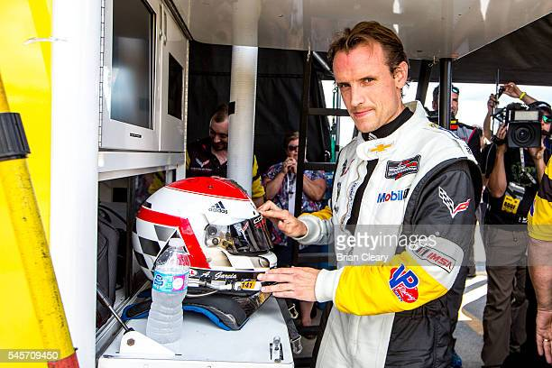 Antonio Garcia of Spain stands in the pits during qualifying for the IMSA WeatherTech Series race at Canadian Tire Motorsport Park on July 9 2016 in...