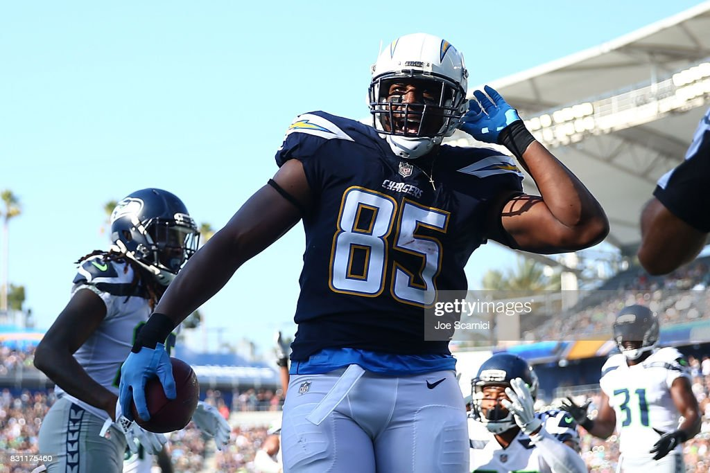 Antonio Gates #85 of the Los Angeles Chargers celebrates after making a touchdown in the first quarter against the Seattle Seahawks at StubHub Center on August 13, 2017 in Carson, California.