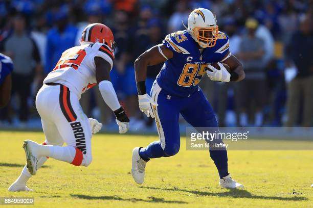 Antonio Gates of the Los Angeles Chargers runs the ball down field during the game against the Cleveland Browns at StubHub Center on December 3 2017...