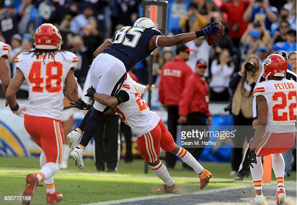 Antonio Gates of the San Diego Chargers makes career touchdown number 111 against the Kansas City Chiefs tying Tony Gonzalez for the NFL record...
