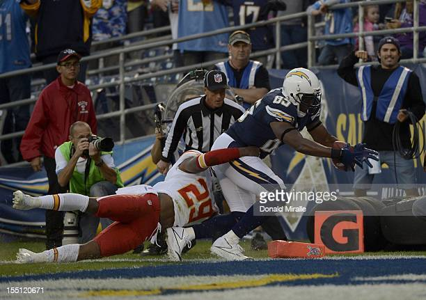 Antonio Gates of the San Diego Chargers scores a touchdown against Eric Berry of the Kansas City Chiefs on November 1 2012 at Qualcomm Stadium in San...