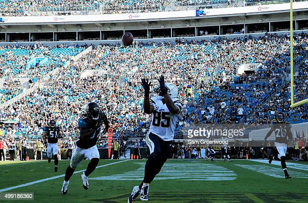 Antonio Gates of the San Diego Chargers scores a touchdown in the second quarter against the Jacksonville Jaguars at EverBank Field on November 29...