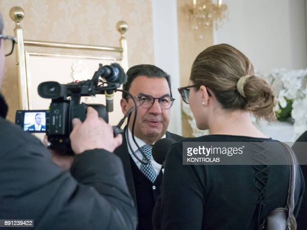 Antonio Gentile Senator during a health press conference in Calabria southern Italy