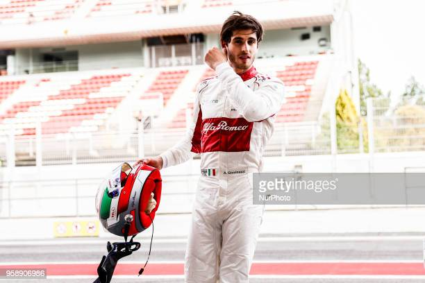 36 Antonio Giovinazzi from Italy with Alfa Romeo Sauber F1 Team C37 portrait during the Spanish Formula One inseason young drivers Tests at Circuit...
