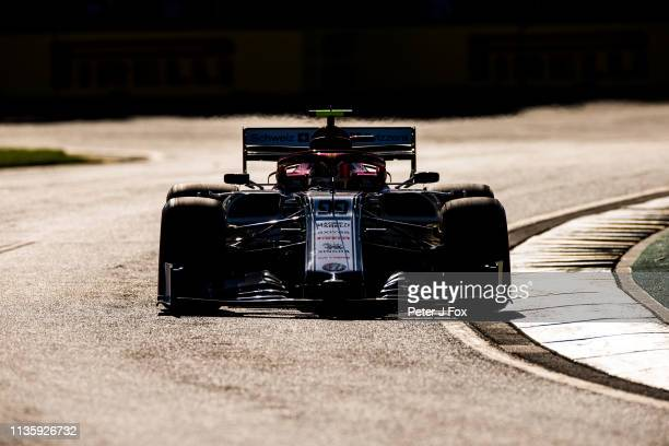 Antonio Giovinazzi of Alfa Romeo and Italy during practice for the F1 Grand Prix of Australia at Melbourne Grand Prix Circuit on March 15 2019 in...