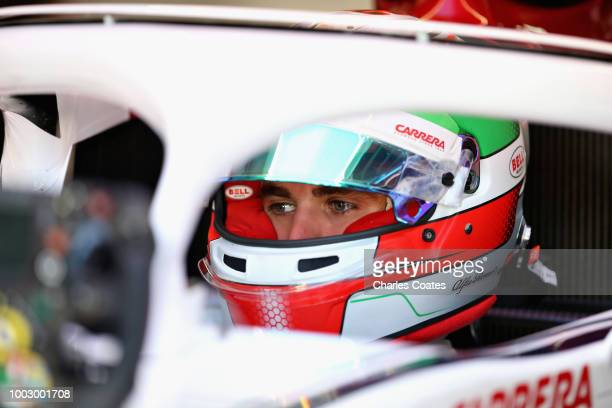 Antonio Giovinazzi of Italy and Sauber F1 prepares to drive during practice for the Formula One Grand Prix of Germany at Hockenheimring on July 20...