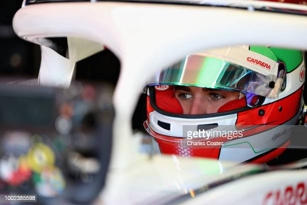 Antonio Giovinazzi of Italy and Sauber F1 prepares to drive in the garage during practice for the Formula One Grand Prix of Germany at Hockenheimring...