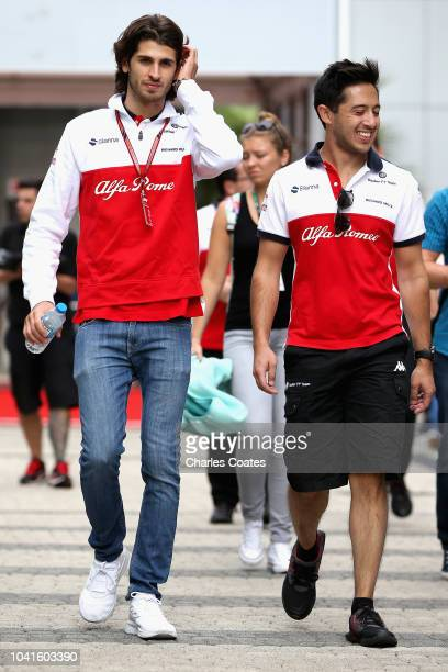 Antonio Giovinazzi of Italy and Sauber F1 walks in the Paddock during previews ahead of the Formula One Grand Prix of Russia at Sochi Autodrom on...