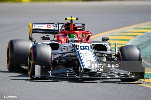 Antonio Giovinazzi of Italy drives the Alfa Romeo Racing C38 during practice for the Australian Formula 1 Grand Prix at Albert Park on March 15 2019...