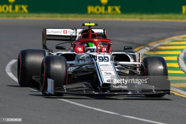 Antonio Giovinazzi of Italy drives the Alfa Romeo Racing C38 during practice ahead of the Australian Formula 1 Grand Prix at Albert Park on March 16...