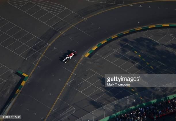 Antonio Giovinazzi of Italy driving the Alfa Romeo Racing C38 Ferrari on track during qualifying for the F1 Grand Prix of Australia at Melbourne...