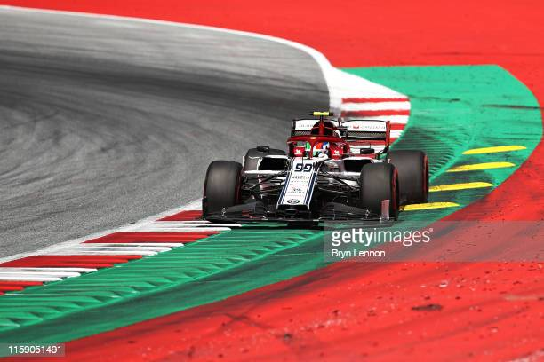 Antonio Giovinazzi of Italy driving the Alfa Romeo Racing C38 Ferrari on track during qualifying for the F1 Grand Prix of Austria at Red Bull Ring on...