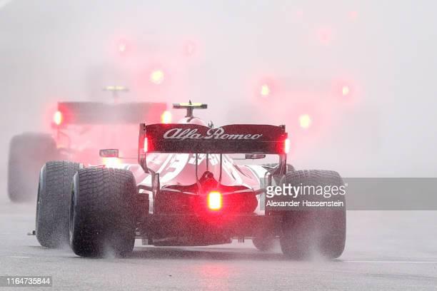 Antonio Giovinazzi of Italy driving the Alfa Romeo Racing C38 Ferrari on track during the F1 Grand Prix of Germany at Hockenheimring on July 28 2019...