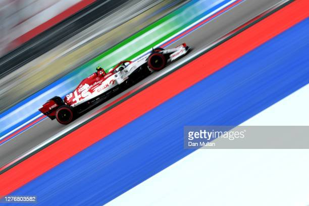 Antonio Giovinazzi of Italy driving the Alfa Romeo Racing C39 Ferrari on track during final practice ahead of the F1 Grand Prix of Russia at Sochi...